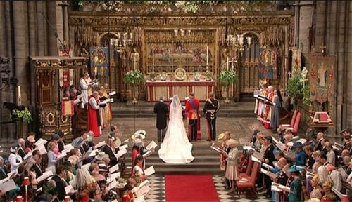 The alter at Westminster Abbey on William and Kate's wedding day.