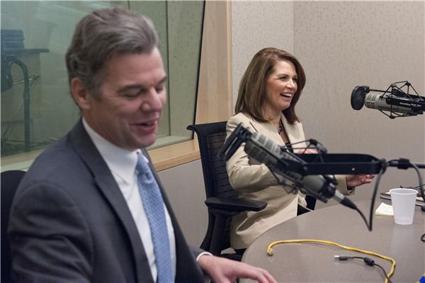 Jim Graves and Michele Bachmann at MPR News HQ in St Paul debating issues facing Minnesota's 6th District. Photo by Anthony Kwan