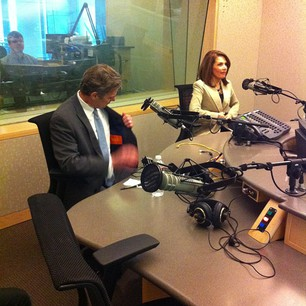 Bachmann and Graves settling in for the @dailycircuit debate. <a href=