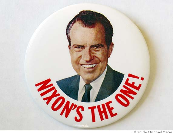 Nixon campaign button. (Chronicle/Michael Macer)