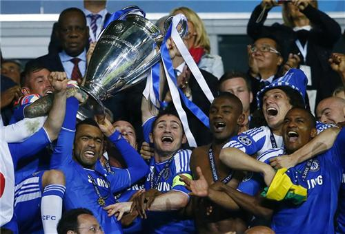 Players Of Chelsea Lift Up The UEFA Champions League Trophy After Their Final Soccer Match Against Bayern Munich At Allianz Arena In May 19