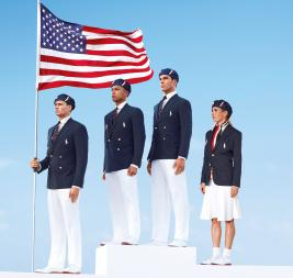 This product image released by Ralph Lauren shows U.S. Olympic athletes, from left, swimmer Ryan Lochte, decathlete Bryan Clay, rower Giuseppe Lanzone and soccer player Heather Mitts modeling the the official Team USA Opening Ceremony Parade Uniform. As an official outfitter of the U.S. Olympic and Paralympic Teams, Ralph Lauren has designed Team USA's Official Opening and Closing Ceremony Parade Uniforms as well as a unique collection of village wear apparel and accessories which embodies the spirit of American athleticism and sportsmanship. (AP Photo/Ralph Lauren)<br /><br /><a href=