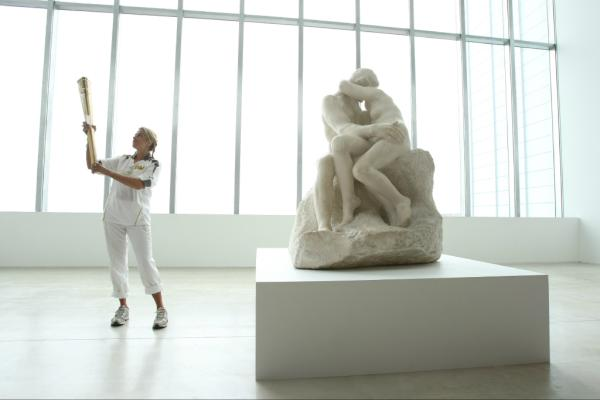 Pic: British Artist Tracey Emin holds the Flame inside the Turner Contemporary Gallery #London2012TorchRelay <a href=