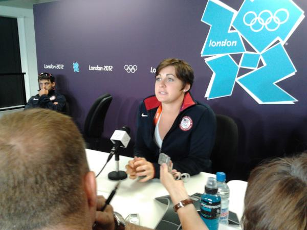 Wrestler Ali Bernard of New Ulm.  Holding court in London #kare11oly <a href=