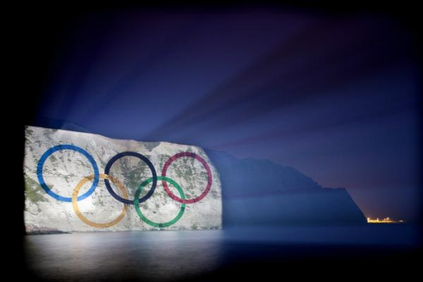 My favorite London image so far: Olympic rings projected on the White Cliffs of Dover.