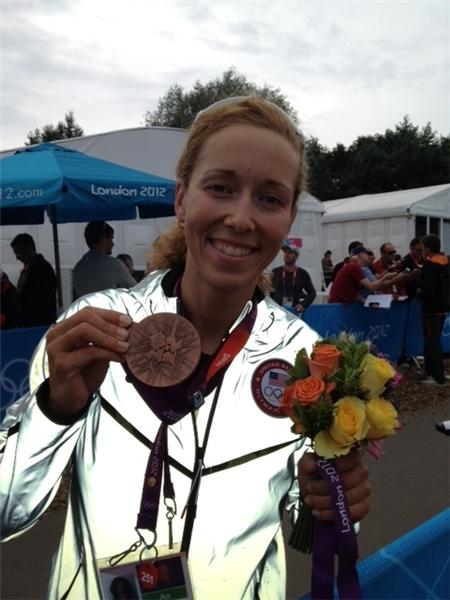 Mary Martin, mother of Olympic rower Megan Kalmoe, sent along this photo of her daughter with her bronze medal.