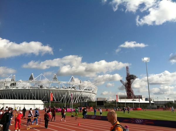 At the warm up track for my pre-meet workout! Almost time!! #London2012 <a href=