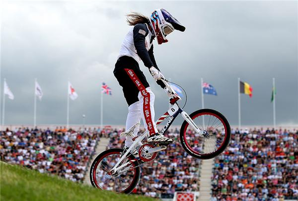 Alise Post of St. Cloud, Minn., during the Women's BMX Cycling on Day 12 of the London 2012 Olympic Games at BMX Track on August 8, 2012 in London, England.  Post finished 8th and will race again tomorrow. (Brynn Lennon/Getty Images)