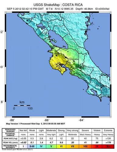Costa Rica earthquake shake map