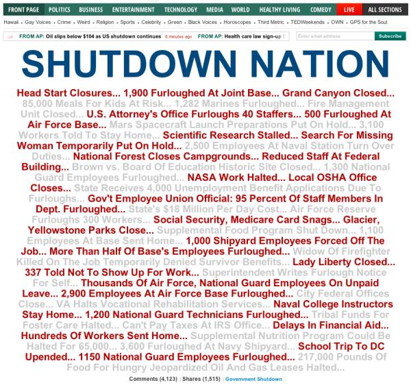 government shutdown and the lives affected essay How key parts of the federal government would be affected by a shutdown: ___ internal revenue service a shutdown plan posted on the treasury department's website shows that nearly 44 percent of the irs' 80,565 employees will be exempt from being furloughed during a shutdown.