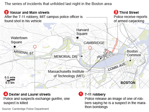 Map of last night\'s events in Boston manhunt   Reuters.com