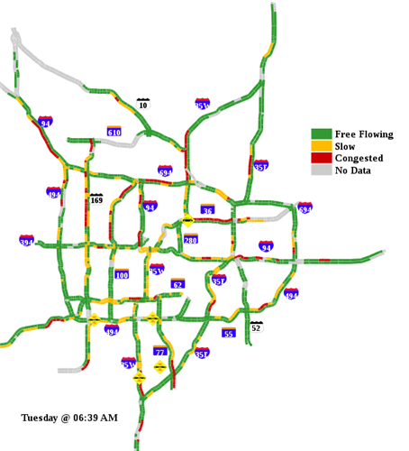 MNDOT traffic map at 6:39a.m. Watch for slick spot | Minnesota