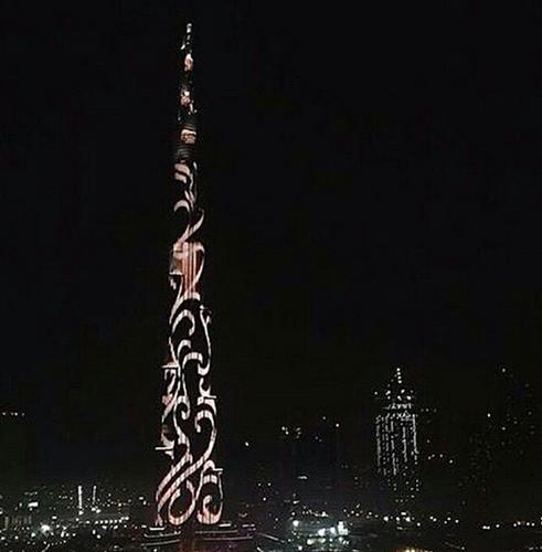 """""""برج خليفة"""" يتحول أكبر شاشة"""
