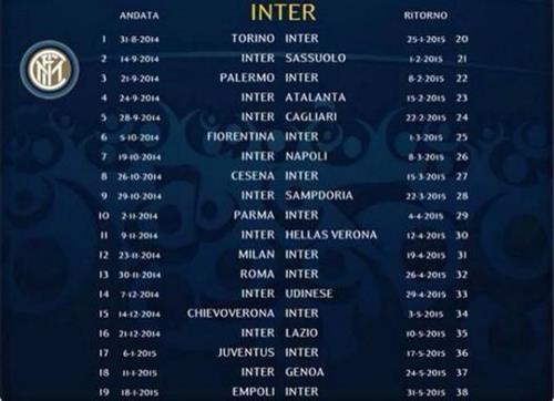 Serie A Calendario Inter.Il Calendario Completo Dell Inter
