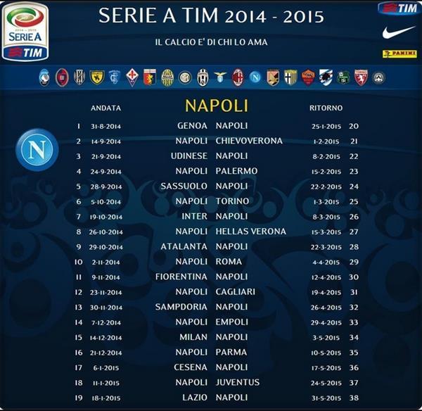 Calendario Serie A Del Napoli.Calendario Napoli Serie A 2014 2015