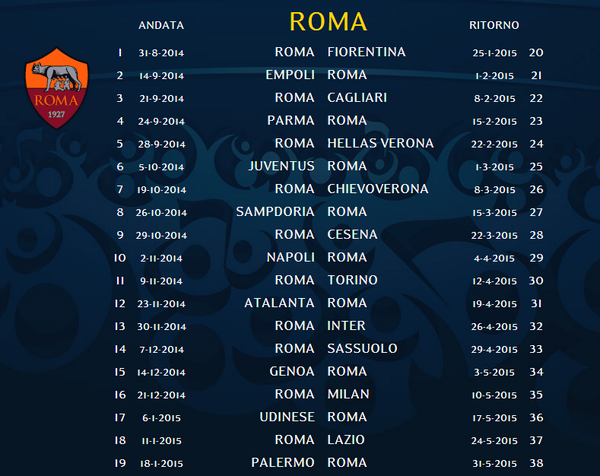 Calendario Roma.Impero Giallorosso Leggi Argomento Calendario Serie A
