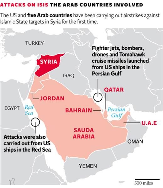 This Map Shows The Countries Involved In The Air Strikes Targeting Isis
