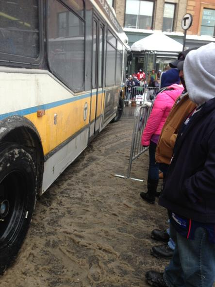Another Mbta Bus Barely Squeezes Through As Crowds Wait