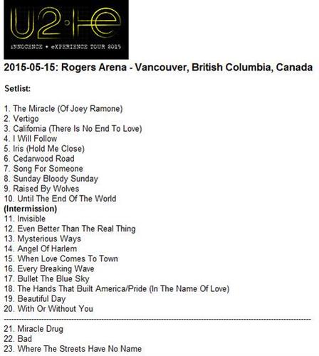 U2 #U2ieTour in Vancouver: Live Twitter feed | Page 154