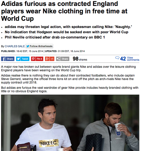 0c9139639 A spokesman for Adidas told the Daily Mail that Nike s actions regarding  the England players have them upset.