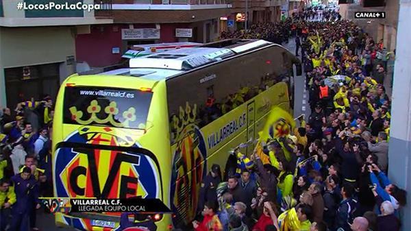 El Villarreal, a su llegada al estadio