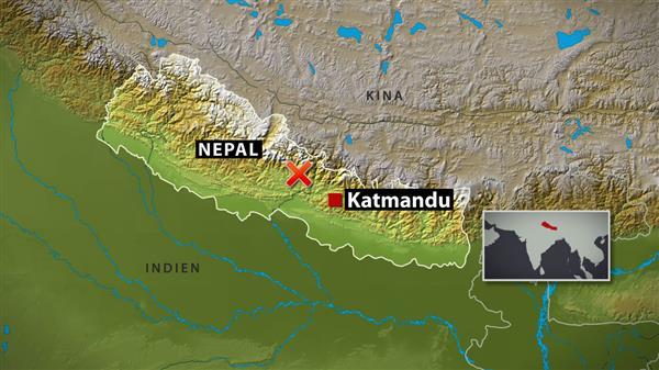 Jordbävningen inträffade cirka 80 kilometer öster om staden Pokhara i Nepal, ungefär halvvägs till huvudstaden Katmandu. Foto: SVT