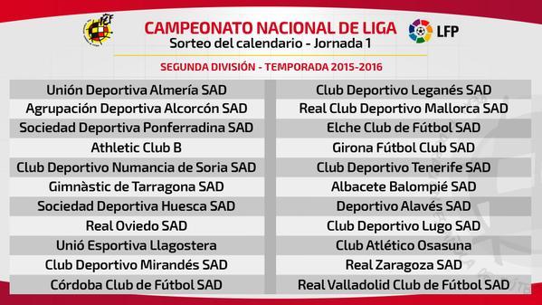 Calendario Liga Segunda.Asi Queda El Sorteo Del Calendario Liga Bbva Y Liga Adelante 2015 2016