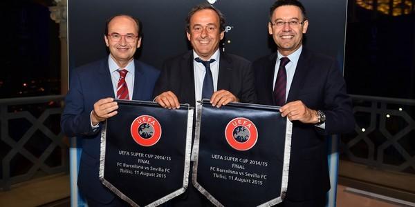 José Castro, Platini y Bartomeu, en la cena previa a la Supercopa de Europa 2015