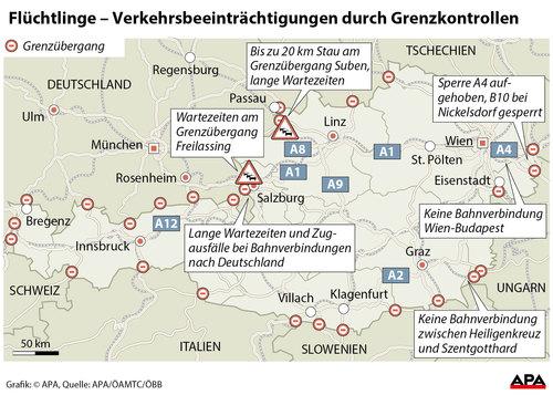 grenzübergänge österreich karte Flüchtlings Krise grenzübergänge österreich karte