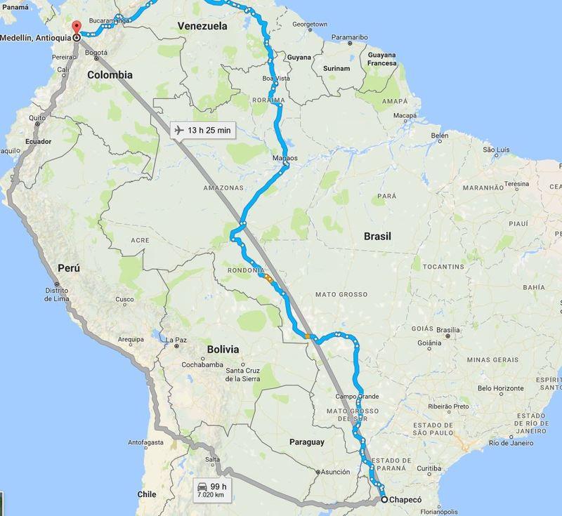 Esta es la ruta (en gris y más centrada) que tenía prevista hacer el avión de Lamia desde Chapecó hasta Medellín