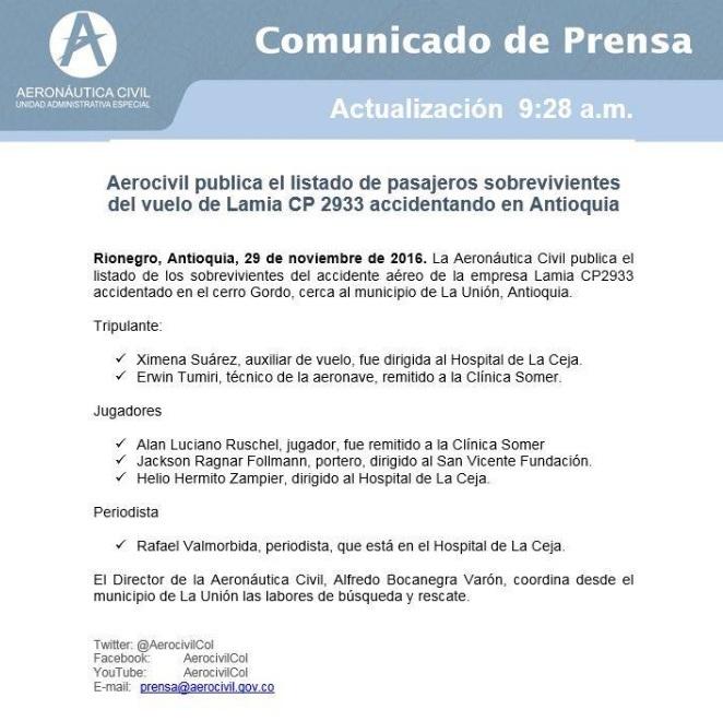A pesar de conocerse los supervivientes del accidente de avión en Colombia, Aeronáutica Civil ha actualizado el listado publicado de los pasajeros que han sobrevivido.