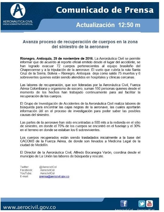 Aeronáutica Civil de Colombia lanza un nuevo comunicado de prensa de como avanza el proceso de recuperación de cuerpos del accidente de avión en Colombia