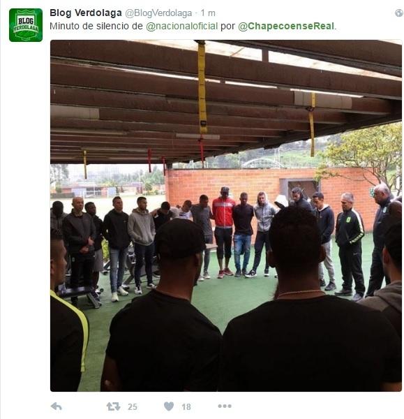 Minuto de silencio del Atlético Nacional, rival con quien tenía que enfrentarse el Chapecoense