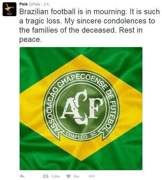 Pele, solidarizado con las víctimas del accidente de avión
