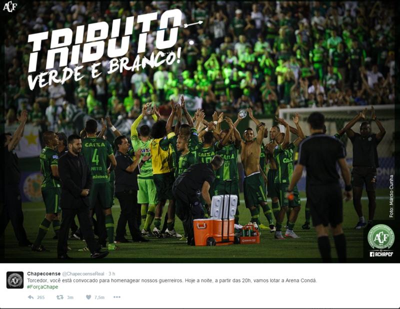El tuit publicado por el Chapecoense para convocar a los aficionados a llenar su estadio.