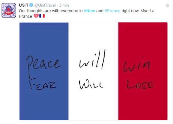Många på sociala medier vill visa sitt stöd för Nice.