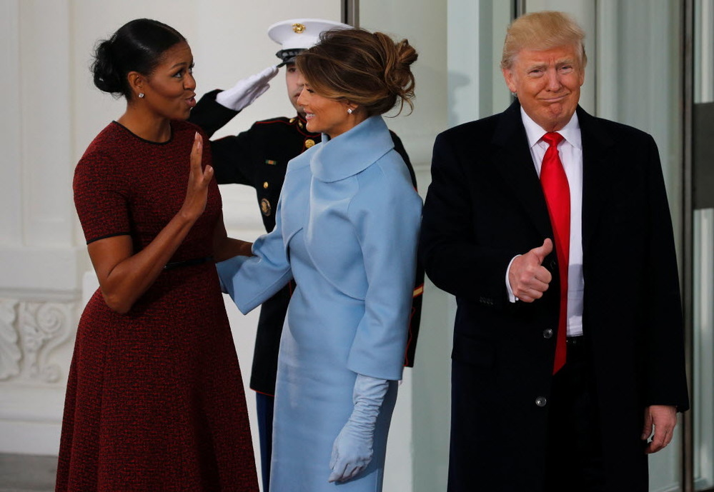 Live blog donald trump inauguration us first lady michelle obama greets us president elect donald trump and his wife melania for tea before the inauguration at the white house in m4hsunfo
