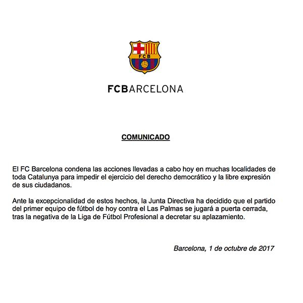 El comunicado oficial del FC Barcelona
