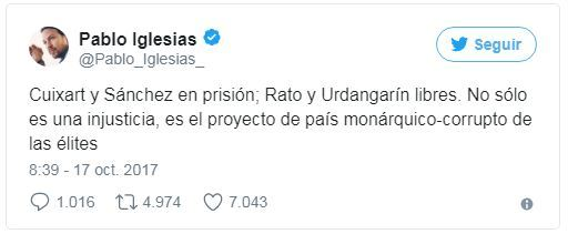 Tuit de Pablo Iglesias.