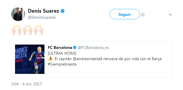 La reacción de Denis Suárez a la renovación de Iniesta (Twitter)