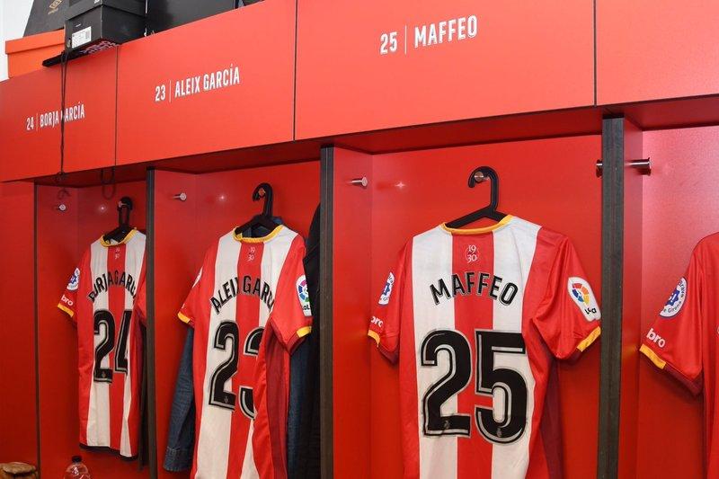 El vestuario del Girona, preparado para el encuentro (foto Girona)
