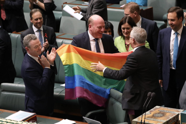 Image result for politicians australia rainbow flag dancing