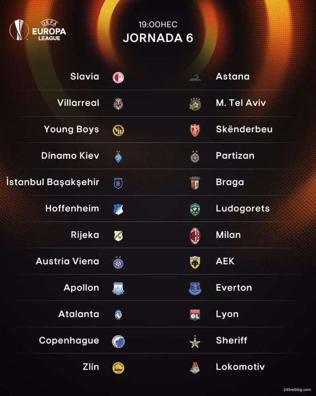Estos son los 12 partidos que se disputan a las 19.00 horas