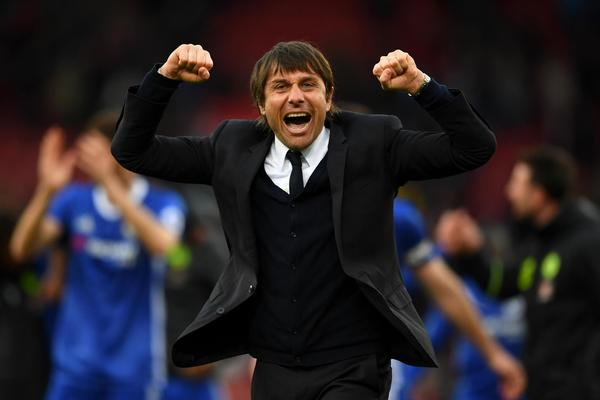 Antonio Conte allowing himself to relax a little