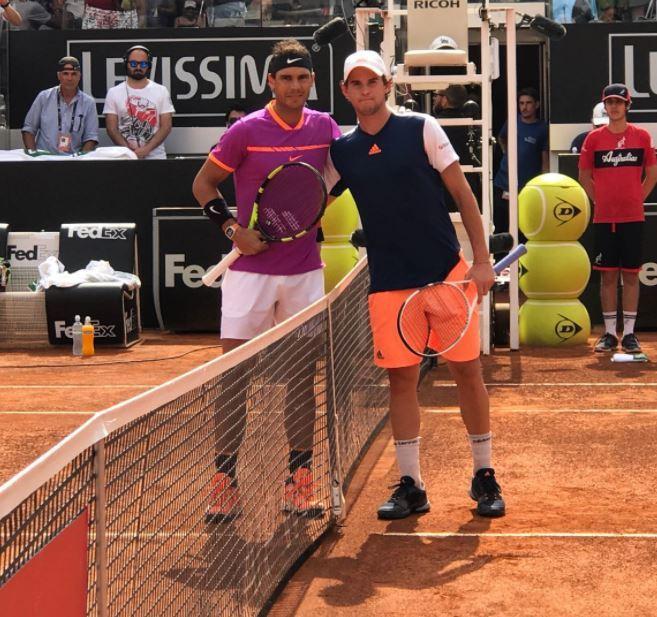 Dominic Thiem y Rafa Nadal, antes de su tercer duelo seguido del año