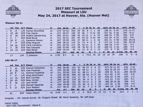 Live updates from the SEC baseball tournament in Hoover