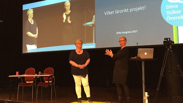Åsa Henningsson och Maya Rohdell presenterar sitt projekt Döva tolkar och översättare.