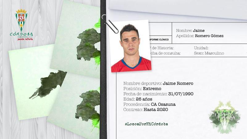 Así ha anunciado el Córdoba el fichaje de Jaime Romero