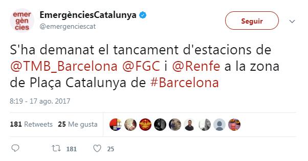 Tweet de Emergéncies de Catalunya