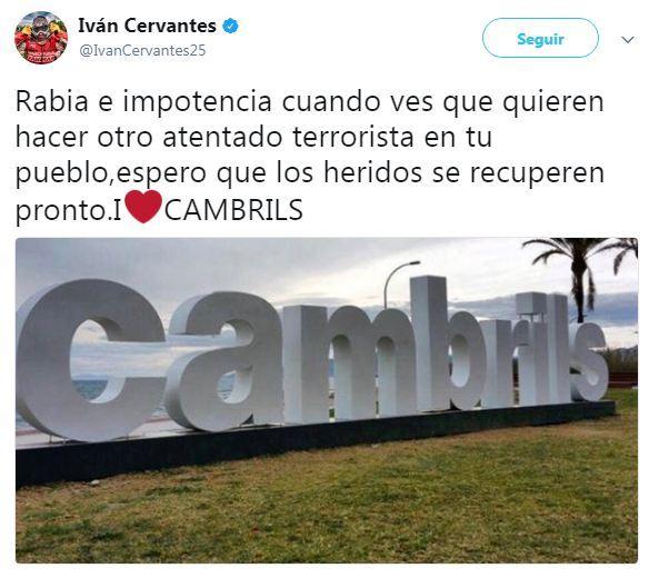 Iván Cervantes, el campeón de enduro nacido en Cambrils, muestra su apoyo a las víctimas del atentado en el Paseo Marítimo de Cambrils de esta madrugada.